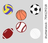 sports balls set for soccer ... | Shutterstock . vector #704129218