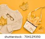 autumn arrives. fashion lady... | Shutterstock . vector #704129350