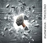 hammer hitting the wall causing ... | Shutterstock . vector #704131363