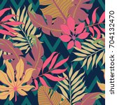 summer exotic floral tropical... | Shutterstock .eps vector #704132470