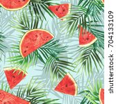 watermelon seamless pattern.... | Shutterstock . vector #704133109