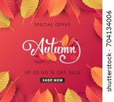 autumn sale background layout... | Shutterstock .eps vector #704134006