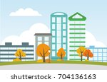 city landscape with autumn... | Shutterstock .eps vector #704136163