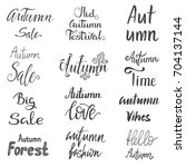 set of autumn sale lettering...   Shutterstock .eps vector #704137144