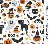 vector cute seamless halloween... | Shutterstock .eps vector #704143063