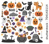 Stock vector cute vector set with halloween illustrations smiling and funny cartoon characters pumpkin ghost 704143114