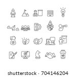 business and startup icons set... | Shutterstock .eps vector #704146204