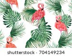 tropical seamless vector floral ... | Shutterstock .eps vector #704149234