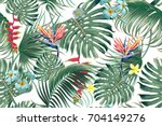 floral seamless vector tropical ... | Shutterstock .eps vector #704149276