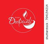 beautiful shubh deepawali line... | Shutterstock .eps vector #704154214