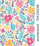 vector floral seamless pattern... | Shutterstock .eps vector #704154238