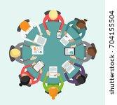 international business meeting... | Shutterstock .eps vector #704155504
