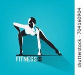 fitness exercise. beautiful... | Shutterstock .eps vector #704160904