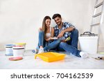 young happy smiling couple... | Shutterstock . vector #704162539