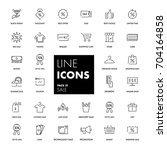 line icons set. sale pack.... | Shutterstock .eps vector #704164858