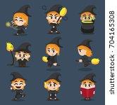 halloween character big head...   Shutterstock .eps vector #704165308