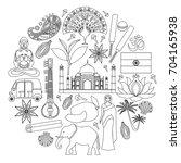 vector indian symbols in... | Shutterstock .eps vector #704165938