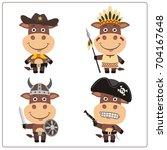 set isolated bull in cartoon... | Shutterstock .eps vector #704167648