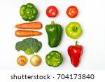 top view of a set of seasonal... | Shutterstock . vector #704173840