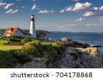 portland head lighthouse in... | Shutterstock . vector #704178868