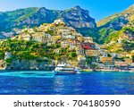 view of positano village on a... | Shutterstock . vector #704180590