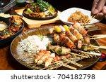 yakitori  japanese chicken... | Shutterstock . vector #704182798