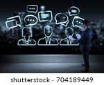 businessman watching discussion ... | Shutterstock . vector #704189449