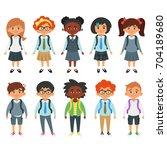 vector cartoon style set of... | Shutterstock .eps vector #704189680