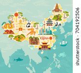 china illustrated map  hand... | Shutterstock .eps vector #704192506