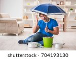 man at home dealing with...   Shutterstock . vector #704193130