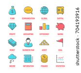 business vector line icons with ... | Shutterstock .eps vector #704193916