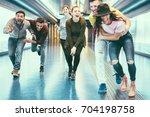 happy friends having fun in... | Shutterstock . vector #704198758