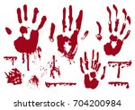 blood realistic marks of hand ... | Shutterstock .eps vector #704200984