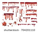 blood realistic dripping drops  ... | Shutterstock .eps vector #704201110