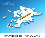map europe isometric concept.... | Shutterstock .eps vector #704201749