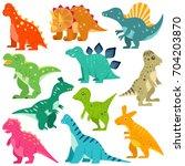 dinosaurs vector set | Shutterstock .eps vector #704203870