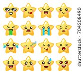 star emoji. cute emoticons | Shutterstock .eps vector #704208490