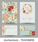 autumn vintage hortensia... | Shutterstock .eps vector #704208898