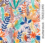 tropical seamless floral... | Shutterstock .eps vector #704211493