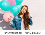 close up portrait of adorable... | Shutterstock . vector #704215180