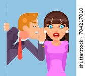 whispering ear secrets cartoon... | Shutterstock .eps vector #704217010