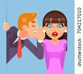 whispering ear secrets cartoon... | Shutterstock .eps vector #704217010