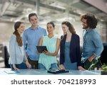 digital composite of happy... | Shutterstock . vector #704218993