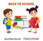 welcome back to school  cute... | Shutterstock .eps vector #704219248
