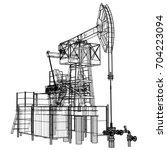 oil pump jack in wire frame... | Shutterstock .eps vector #704223094