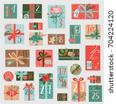 christmas advent calendar  hand ... | Shutterstock .eps vector #704224120
