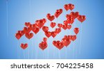 flying balloons in the shape of ... | Shutterstock . vector #704225458