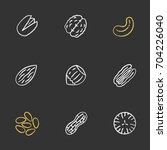 nuts types chalk icons set.... | Shutterstock .eps vector #704226040