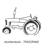 Tractor Sketch. Black And Whit...