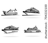 yacht set  on white background  ... | Shutterstock .eps vector #704232100